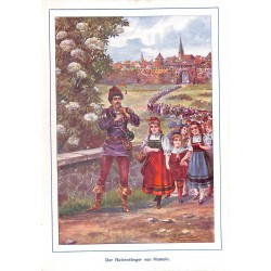 "0121	 Rat Catcher Hameln saga	 vintage german print 1904 size 6.3"" x 8.98"" / 16 cm x 22,8 cm - 100% authentic"