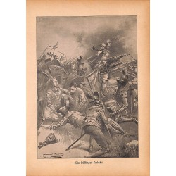 "0134	 battle Döffingen Schlacht	 vintage german print 1904 size 6.3"" x 8.98"" / 16 cm x 22,8 cm - 100% authentic"