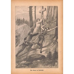 "0155	 Cross Teufelstal murder 	 vintage german print 1904 size 6.3"" x 8.98"" / 16 cm x 22,8 cm - 100% authentic"