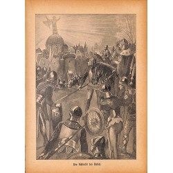 "0164	 knight king Nakel battle	 vintage german print 1904 size 6.3"" x 8.98"" / 16 cm x 22,8 cm - 100% authentic"