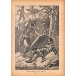 "0165	 knight murder Lehnin	 vintage german print 1904 size 6.3"" x 8.98"" / 16 cm x 22,8 cm - 100% authentic"