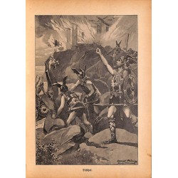 "0175	 Frithjof knights saga	 vintage german print 1904 size 6.3"" x 8.98"" / 16 cm x 22,8 cm - 100% authentic"