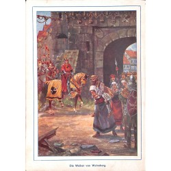 "0176	 knights Weinsberg woman	 vintage german print 1904 size 6.3"" x 8.98"" / 16 cm x 22,8 cm - 100% authentic"