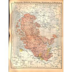 0186 Map/Print- Schleswig Holstein Hamburg Lauenburg Lübeck - No.13Vintage German Map Print 1902 size:26x34cm