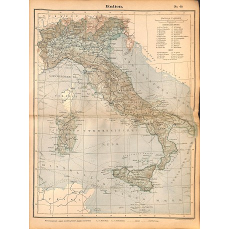 0209 Map/Print- Italy Italien  Europe - No.40Vintage German Map Print 1902 size:26x34cm