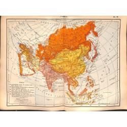 0210 Map/Print- Asia  Russia Arabia India China Japan - No.42Vintage German Map Print 1902 size:26x34cm