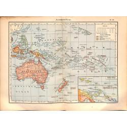 0219 Map/Print- Australia Island Pacific New Zealand Fidschi Cook Island - No.51Vintage German Map Print 1902 size:26x34cm
