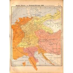 0220 Map/Print- Historic Map Europe 1813 Napoleonic Wars - No.52Vintage German Map Print 1902 size:26x34cm