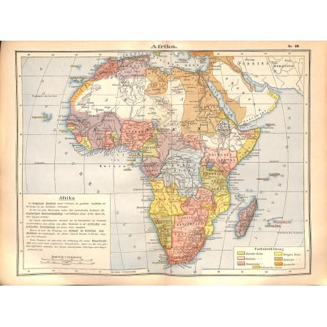 0226 Map/Print- Africa  Arabia Persia Sudan - No.46Vintage German Map Print 1902 size:26x34cm
