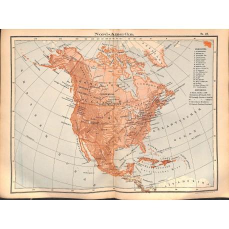 0227 Map/Print- USA Canada North America Cuba Bahamas Grenland - No.47Vintage German Map Print 1902 size:26x34cm