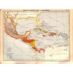 0229 Map/Print- Latin Amercia Mexico Cuba Nicaragua  - No.49Vintage German Map Print 1902 size:26x34cm