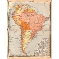0230 Map/Print- South America Brasil Argentinia Peru Chile - No.50Vintage German Map Print 1902 size:26x34cm