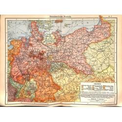 0238 Map/Print- Germany German Empire Deutsche Reich 1:4000 000 - No.05Vintage German Map Print 1902 size:26x34cm