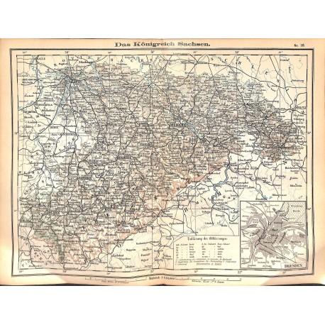 0250 Map/Print- Kingdom Saxony German Reich Sachsen - No.18Vintage German Map Print 1902 size:26x34cm