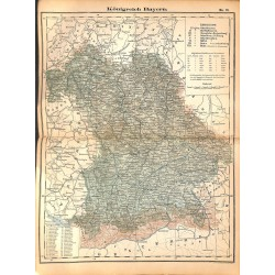 0252 Map/Print- Kingdom Bavaria Bayern - No.21Vintage German Map Print 1902 size:26x34cm