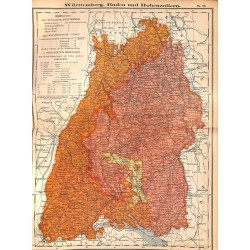 0253 Map/Print- Württemberg Baden Hohenzollern Wurtemberg Baden German Reich - No.22Vintage German Map Print 1902