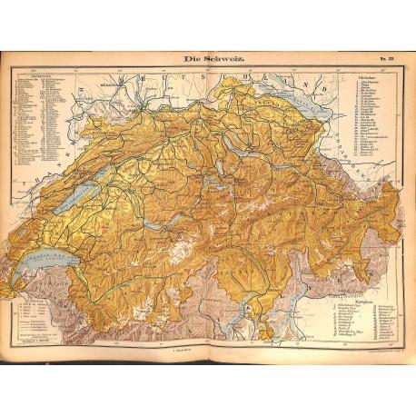 0264 Map/Print- Swiss switzerland Schweiz Europe Helvetia - No.33Vintage German Map Print 1902 size:26x34cm