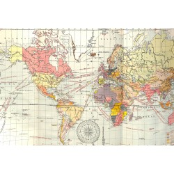 1552 print map 1902 - THE WORLD 1:80.000.000 Mercatorsize:60 x 32 cm