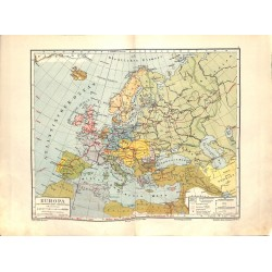 1554 print map 1902 - EUROPE with main roads 1:20.000.000size:44 x 32 cm