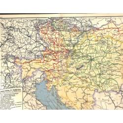 1557 print map 1902 - AUSTRIA HUNGARY railroads 1:3.000.000size:60 x 32 cm
