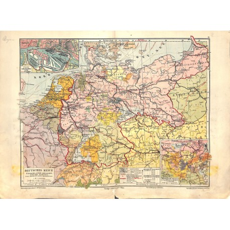1559 print map 1902 - GERMANY EMPIRE BELGIUM NETHERLANDS SWITZERLAND 1:4.000.000size:44 x 32 cm