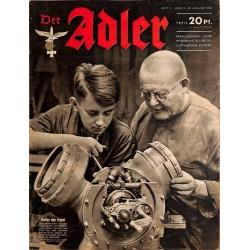 0612 DER ADLER -No.2-1942 vintage German Luftwaffe Magazine Air Force WW2 WWII