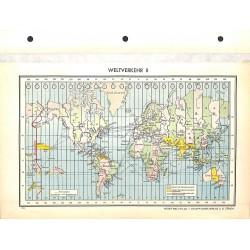 1708 map/print-EARTH TIMEZONES printed: 1954
