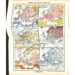1711 map/print-EUROPE PEOPLE RACES printed: 1954