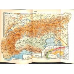 1713 map/print-EUROPE ALPS AUSTRIA SWITZERLAND printed: 1954