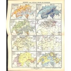 1716 map/print-SWITZERLAND printed: 1954