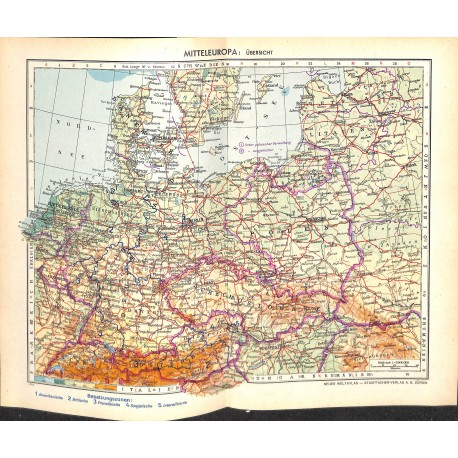 Map Of Central Germany.1717 Map Print Central Europe Germany Czech Republic Printed 1954 Wartimeline Historic German Magazines