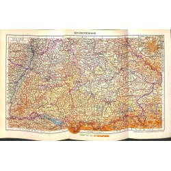 1723 map/print-GERMANY SOUTHWEST printed: 1954