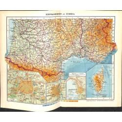 1731 map/print-FRANCE SOUTH CORSICA printed: 1954