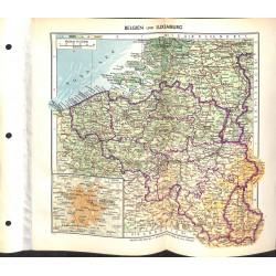 1732 map/print-BELGIUM BRUXELLES LUXEMBURG printed: 1954