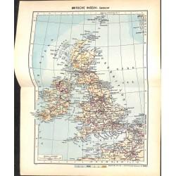 1735 map/print-GREAT BRITAIN ISLES printed: 1954