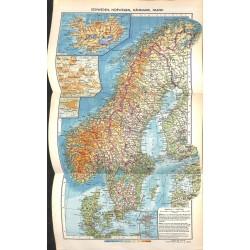 1739 map/print-SEWDEN NORWAY DENMARK ISLAND printed: 1954