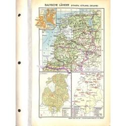 1742 map/print-BALTIC COUNTRIES printed: 1954