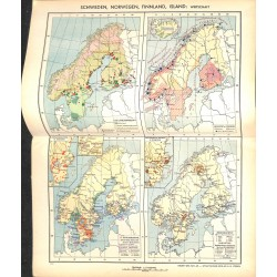 1743 map/print-SWEDEN NORWAY FINLAND ISLAND printed: 1954