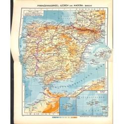 1744 map/print-SPAIN PORTUGAL printed: 1954