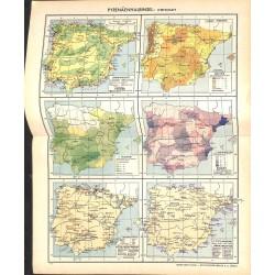 1745 map/print-SPAIN PORTUGAL printed: 1954