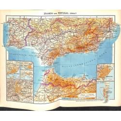 1747 map/print-SPAIN PORTUGAL SOUTH printed: 1954