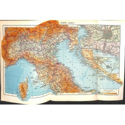 1750 map/print-ITALY NORTH ADRIA ALPS printed: 1954