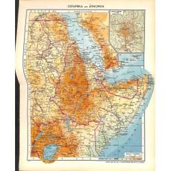 1797 map/print-EAST AFRICA ETHOPIA SOMALIA printed: 1954