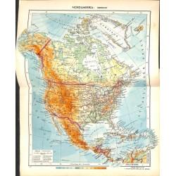 1798 map/print-NORTH AMERICA USA CANADA ME printed: 1954