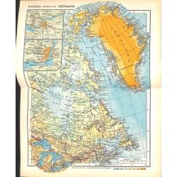 1800 map/print-CANADA GREENLAND printed: 1954