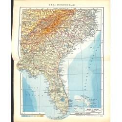 1807 map/print-USA SOUTH ATLANTIC STATES printed: 1954