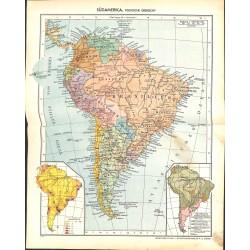 1817 map/print-SOUTH AMERICA BRASIL ARGENTINIA printed: 1954