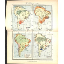 1818 map/print-SOUTH AMERICA AGRICULTURE printed: 1954