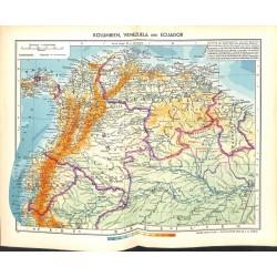 1820 map/print-COLUMBIA VENEZUELA ECUADOR printed: 1954