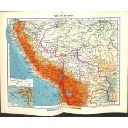 1821 map/print-PERU BOLIVIEN printed: 1954